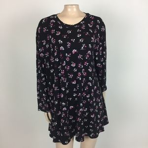 NEW Lane Bryant Womens Tunic Top Floral Rayon GG29